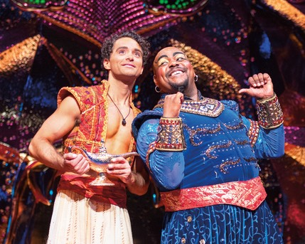 11 Aladdin (Matthew Croke) & Genie (Trevor Dion Nicholas) Friend Like Me pose - photo by Johan Persson � Disney