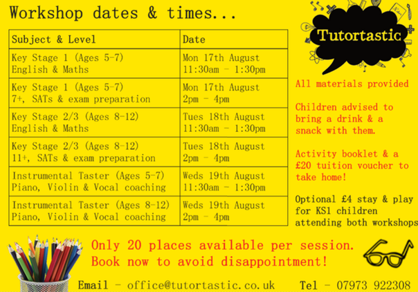 Summer workshop timetable